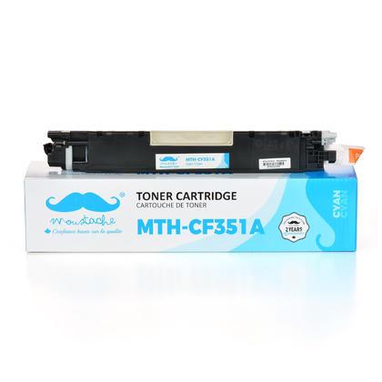 Compatible HP 130A CF351A cartouche de toner cyan - Moustache - 1/paquet