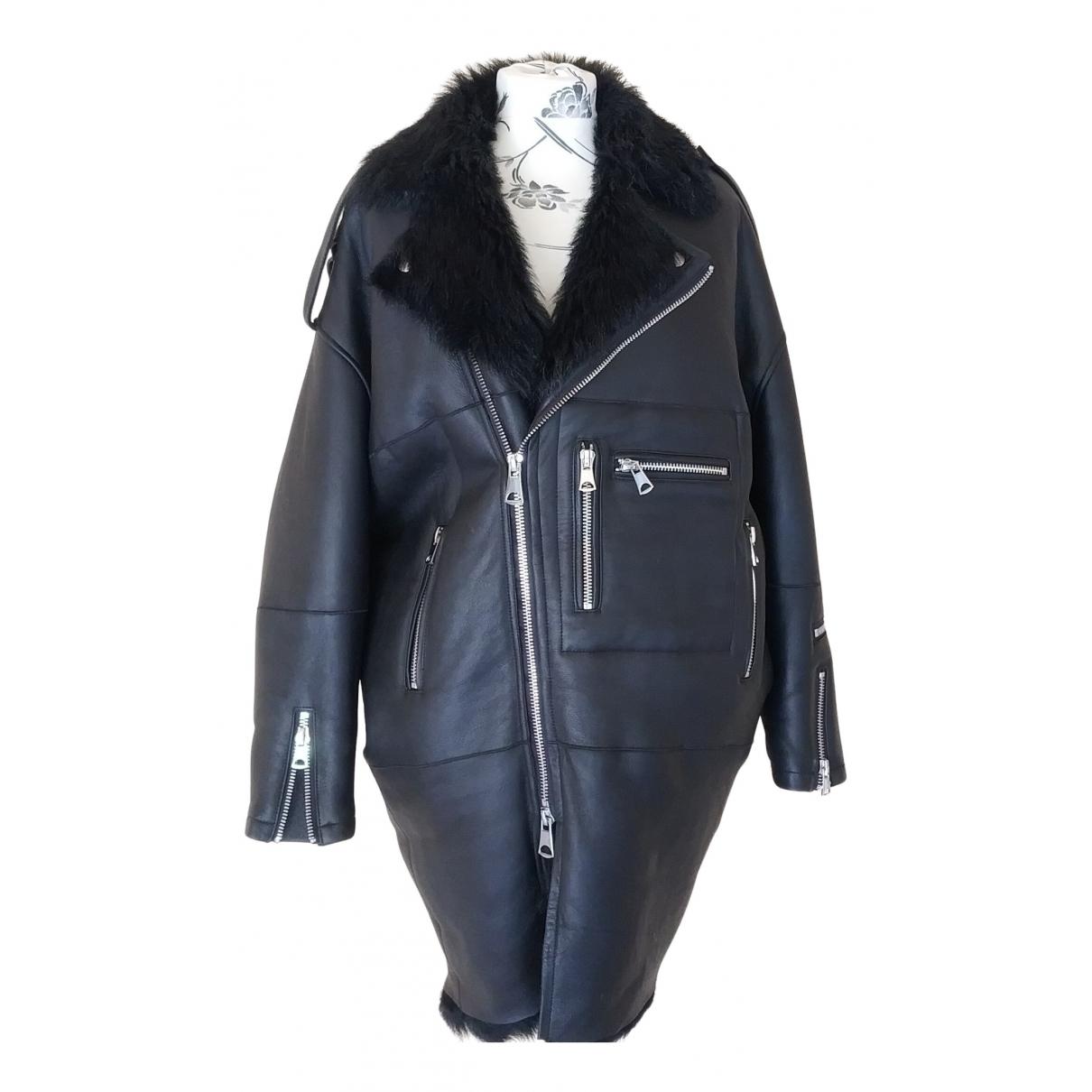 - Manteau Oversize pour femme en mouton - noir