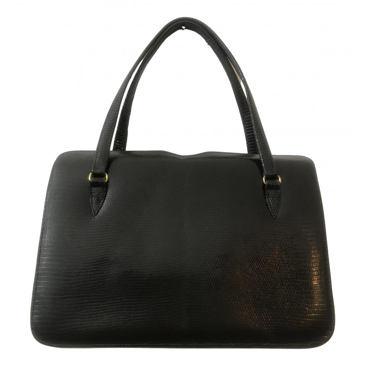 Non Signé / Unsigned \N Black Lizard handbag for Women \N