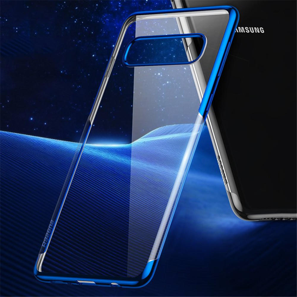 Baseus Plating Transparent Shockproof Soft TPU Back Cover Protective Case for Samsung Galaxy S10 Plus / S10+