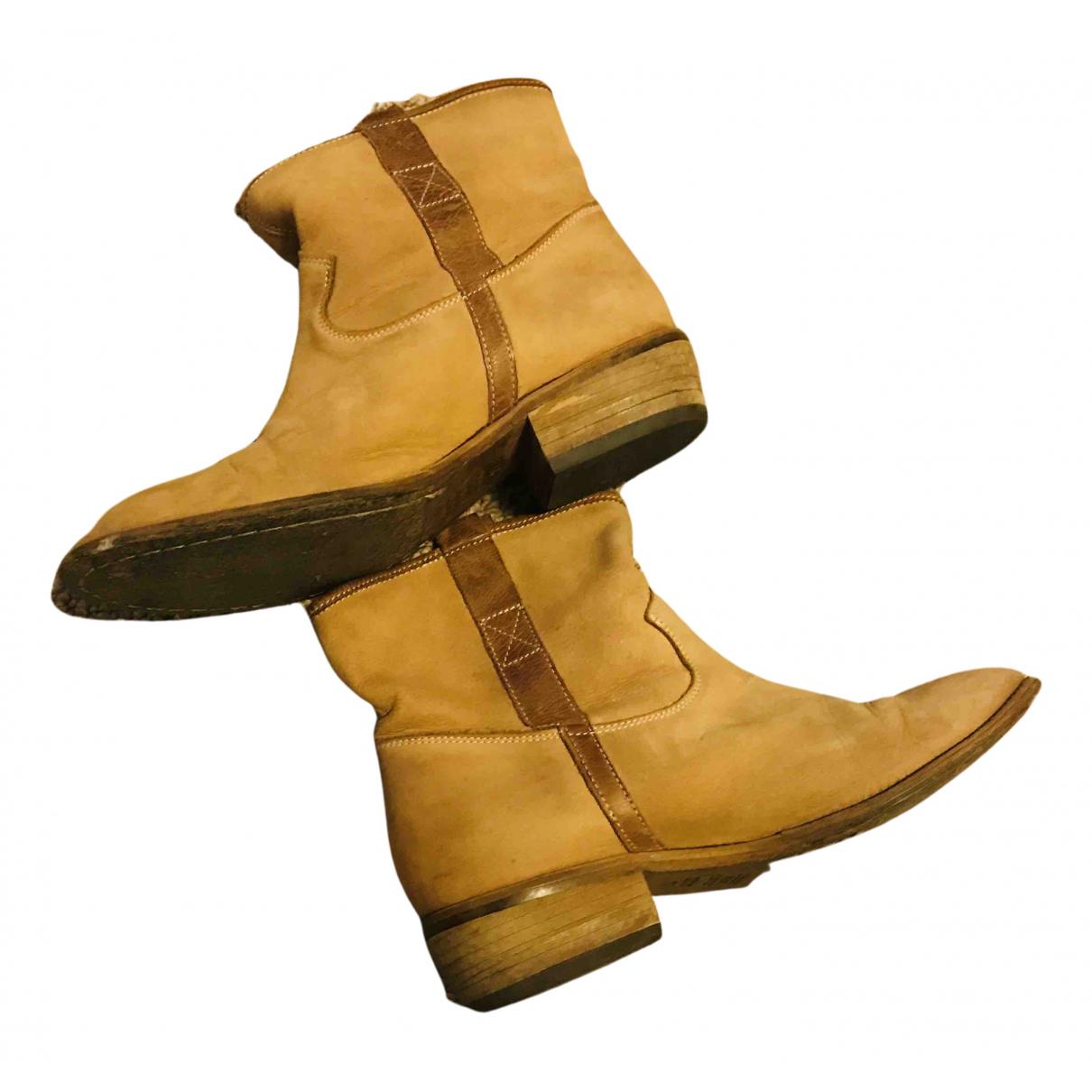 - Bottes   pour femme en cuir - camel
