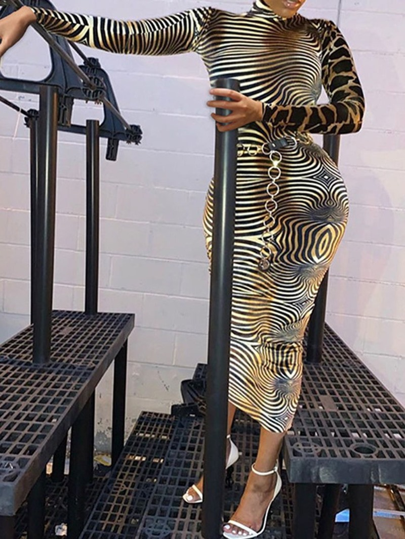 Ericdress Print Mid-Calf Long Sleeve Pencil Mid Waist Dress