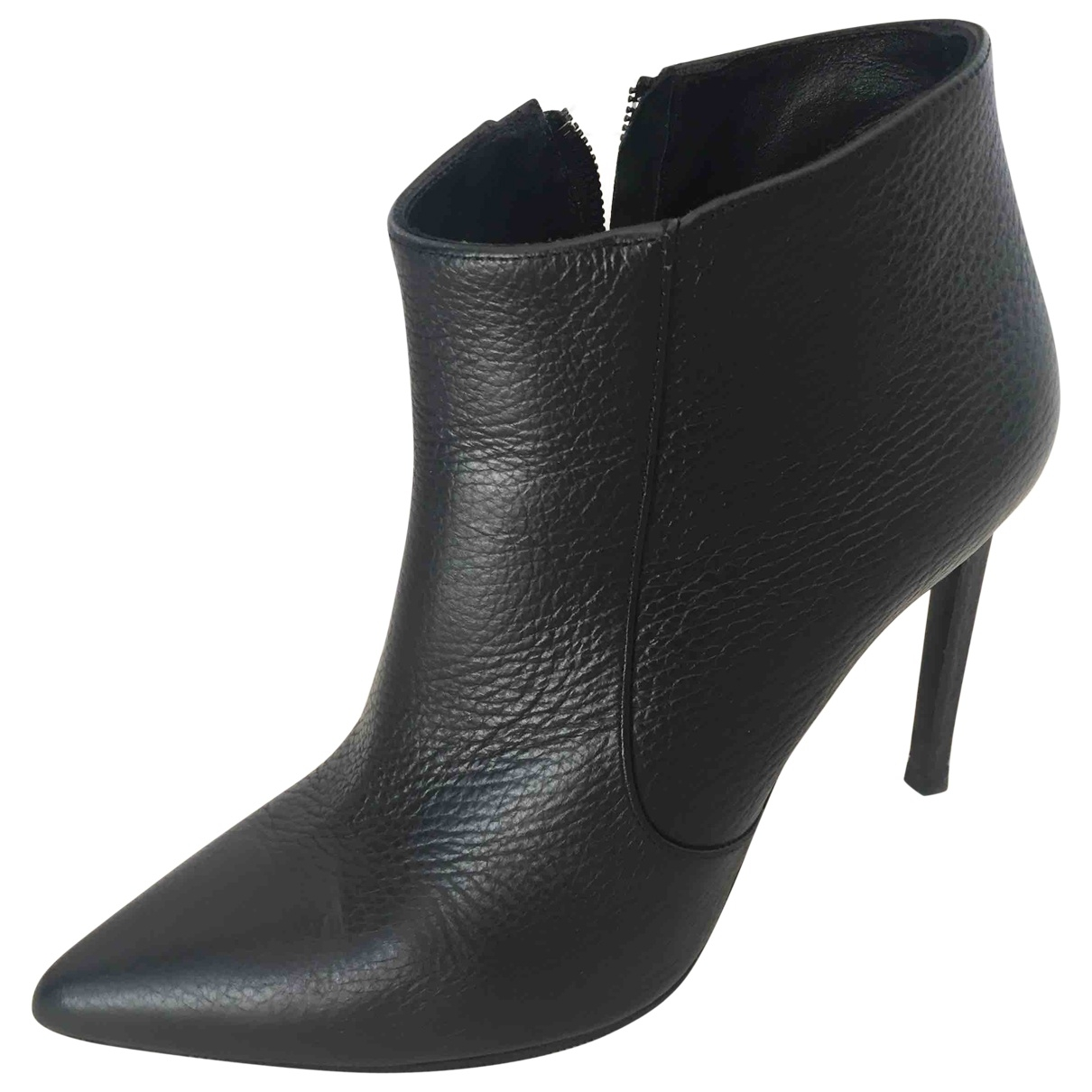 Pollini \N Black Leather Ankle boots for Women 38.5 EU