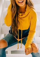 Color Block Splicing Drawstring Thumbhole Sweatshirt - Yellow