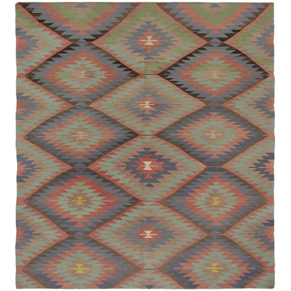 ECARPETGALLERY Flat-weave Sivas Dark Copper, Tan Wool Kilim - 5'9 x 10'10 (Dark Copper/ Tan - 5'9 x 10'10)