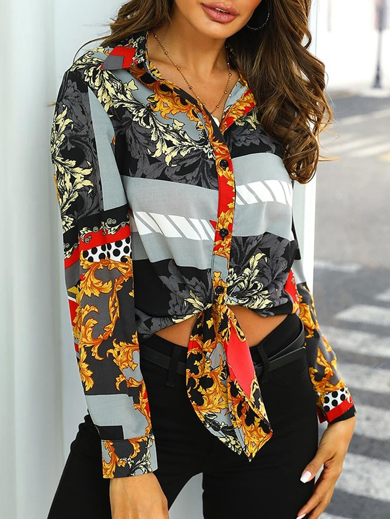 Ericdress Print Long Sleeve Standard Women's Slim Blouse