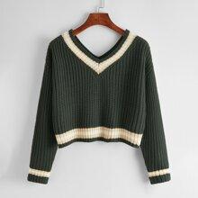 Rippenstrick Pullover mit sehr tief angesetzter Schulterpartie und Streifen
