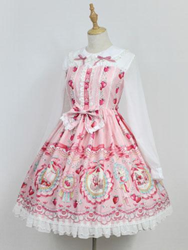 Milanoo Sweet Lolita OP One Piece Dress Neverland Turndown Collar Long Sleeve Bunny White Lolita Dress Original Design