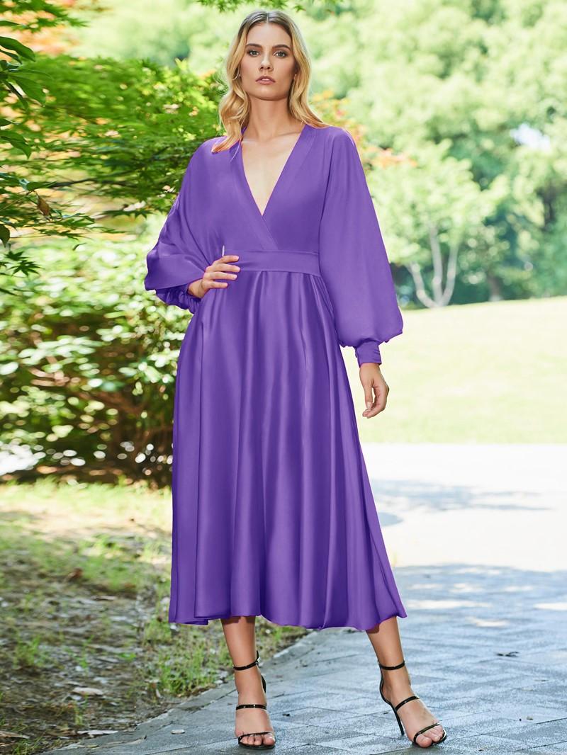 Ericdress A Line Long Sleeve Tea Length Red Evening Dress