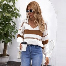 V Neck Drop Shoulder Striped Sweater