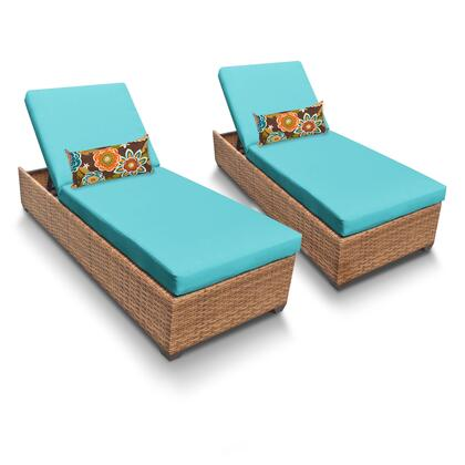 LAGUNA-2x-ARUBA Laguna Chaise Set of 2 Outdoor Wicker Patio Furniture with 2 Covers: Wheat and