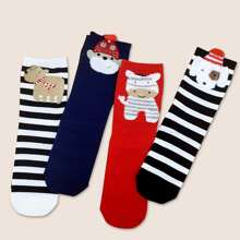 4pairs Toddler Kids Christmas Cartoon Graphic Socks