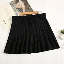 Plus Knot Front Frill Waist Skirt