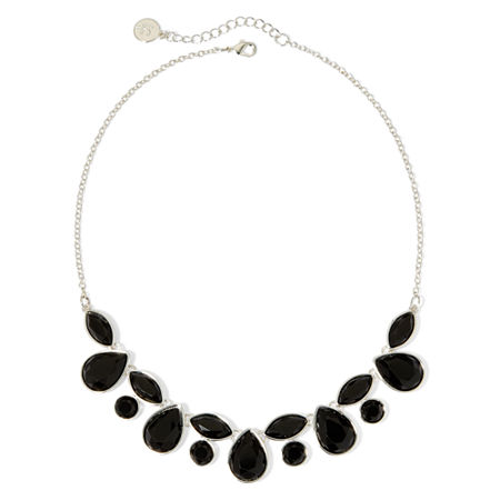 Liz Claiborne Black Faceted Stone Necklace, One Size , Black
