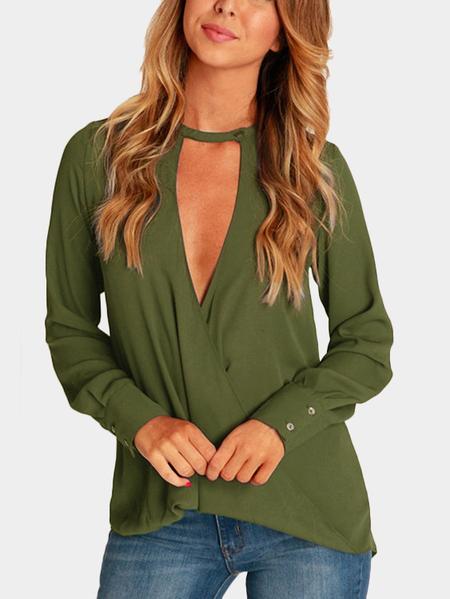 Yoins Green Wrap Front Deep V-neck Blouse