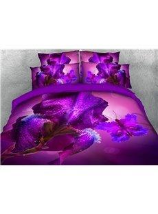 Purple Iris Tectorum and Butterfly Warm 3D Printed 5-Piece Comforter Sets