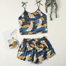 Conjunto de pijama de tirantes de hombro con cordon con estampado de grulla