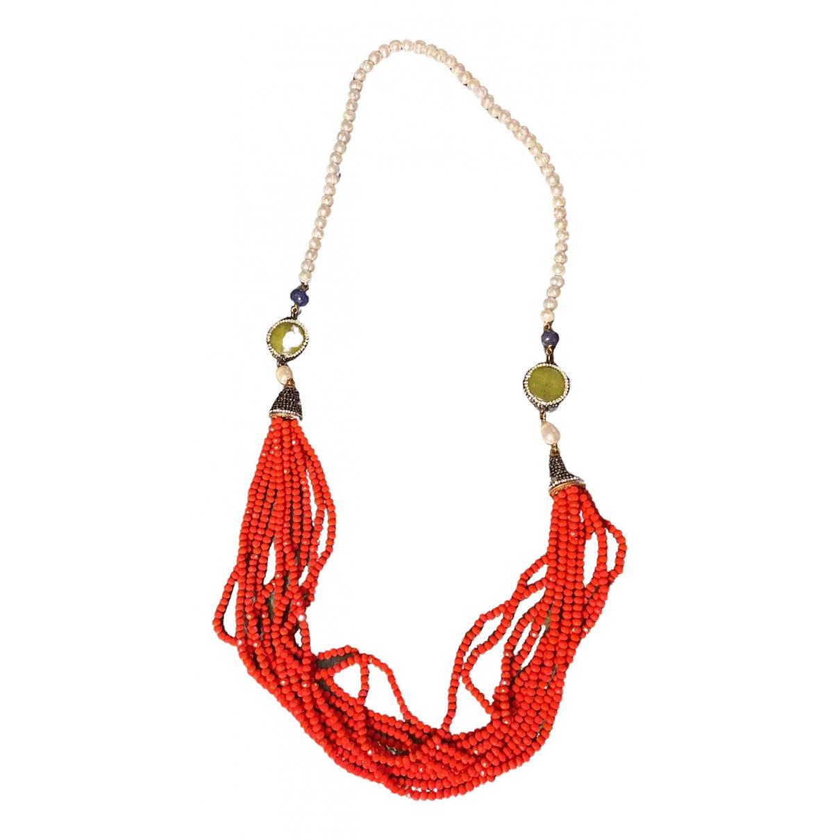 Non Signe / Unsigned Motifs Ethniques Halskette in  Rot Perlen