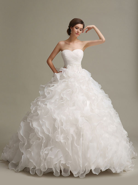 Milanoo Wedding Dresses Princess Ball Gowns Strapless Sweetheart Neckline Pleated Frills Beaded Sash Tulle Ivory Bridal Dress With Train