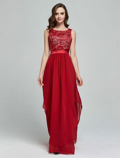 Milanoo Vestido largo Rojo Moda Mujer Jacquard sin mangas Vestidos de chifon asimetrica arrugada con escote redondo Verano para baile