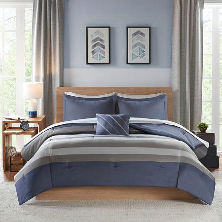 Intelligent Design James Stripes Complete Bed and Sheet Set, One Size , Blue