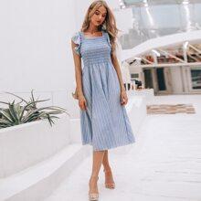 Ruffle Trim Shirred Striped Dress