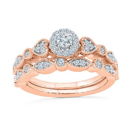 Womens 1/2 CT. T.W. Genuine White Diamond 10K Rose Gold Bridal Set, 4 , No Color Family