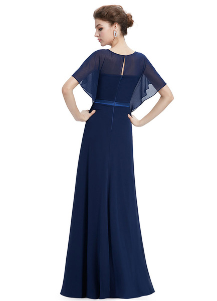 Milanoo Chiffon Evening Dresses Lace Applique Mother Of The Bride Dresses Dark Navy Batwing Short Sleeve A Line Floor Length Party Dresses With Sash