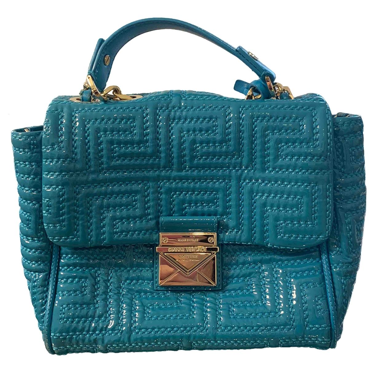 Gianni Versace \N Turquoise Patent leather handbag for Women \N