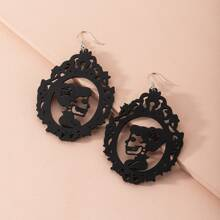 Hollow Out Figure Charm Drop Earrings