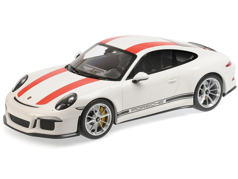2016 Porsche 911 R White with Red Stripes and Black Writing 1/12 Diecast Model Car by Minichamps