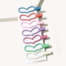 7 piezas horquilla de niñitas con diseño de corazon