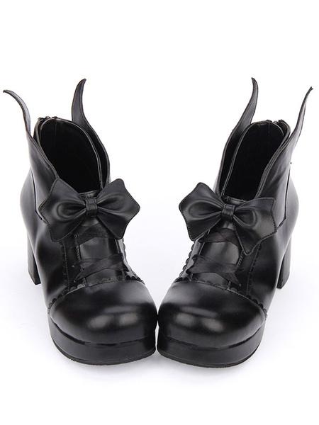 Milanoo Gothic Lolita Shoes Bow Platform Chunky Heel Black Lolita Pumps