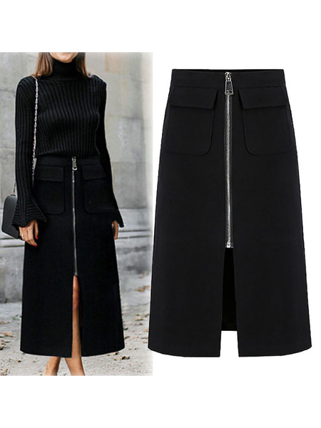 Milanoo Women Skirt Black Polyester Long High Low Design Autumn And Winter Bottoms