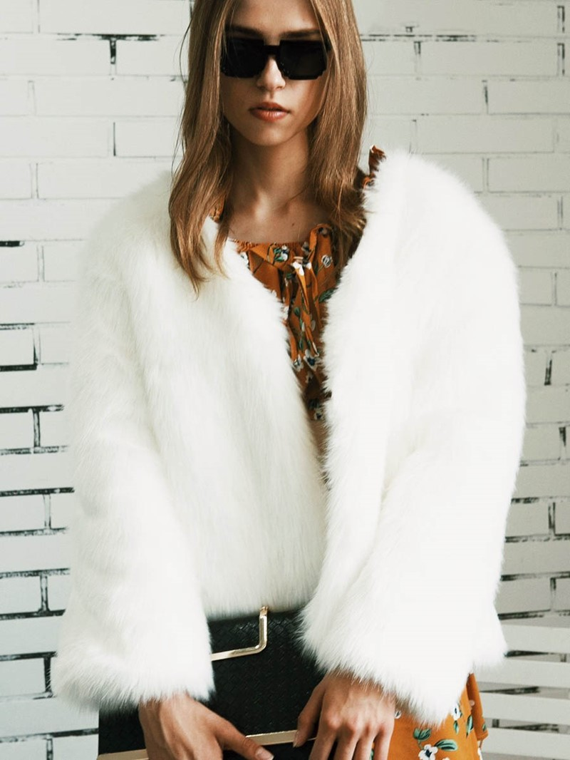 Ericdress Loose Plain Faux Fur Coat