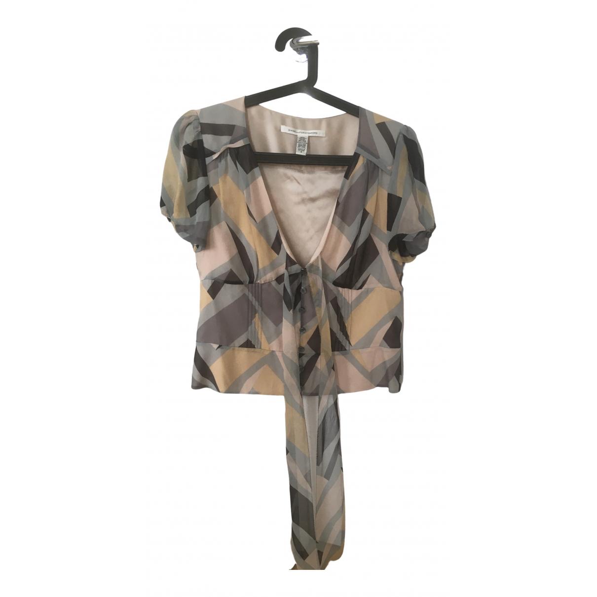 Diane Von Furstenberg - Top   pour femme en soie - gris