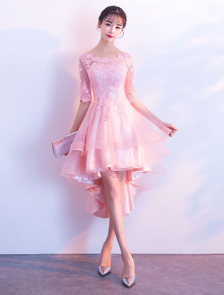 Milanoo Cocktail Dresses High Low Pink Lace Half Sleeve Party Dresses