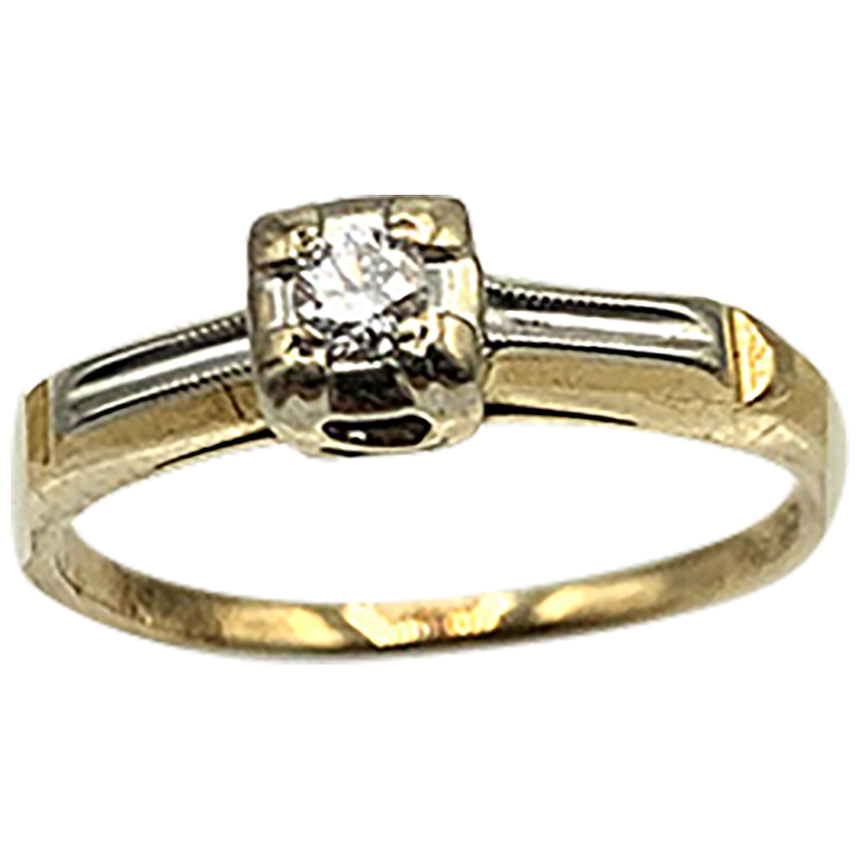 Non Signé / Unsigned \N Silver Yellow gold ring for Women \N