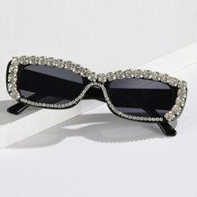 Rhinestone Rectangle Frame Sunglasses