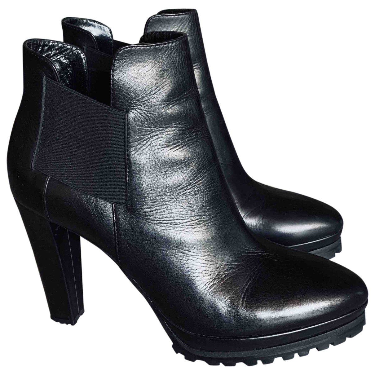 All Saints \N Black Leather Ankle boots for Women 41 EU