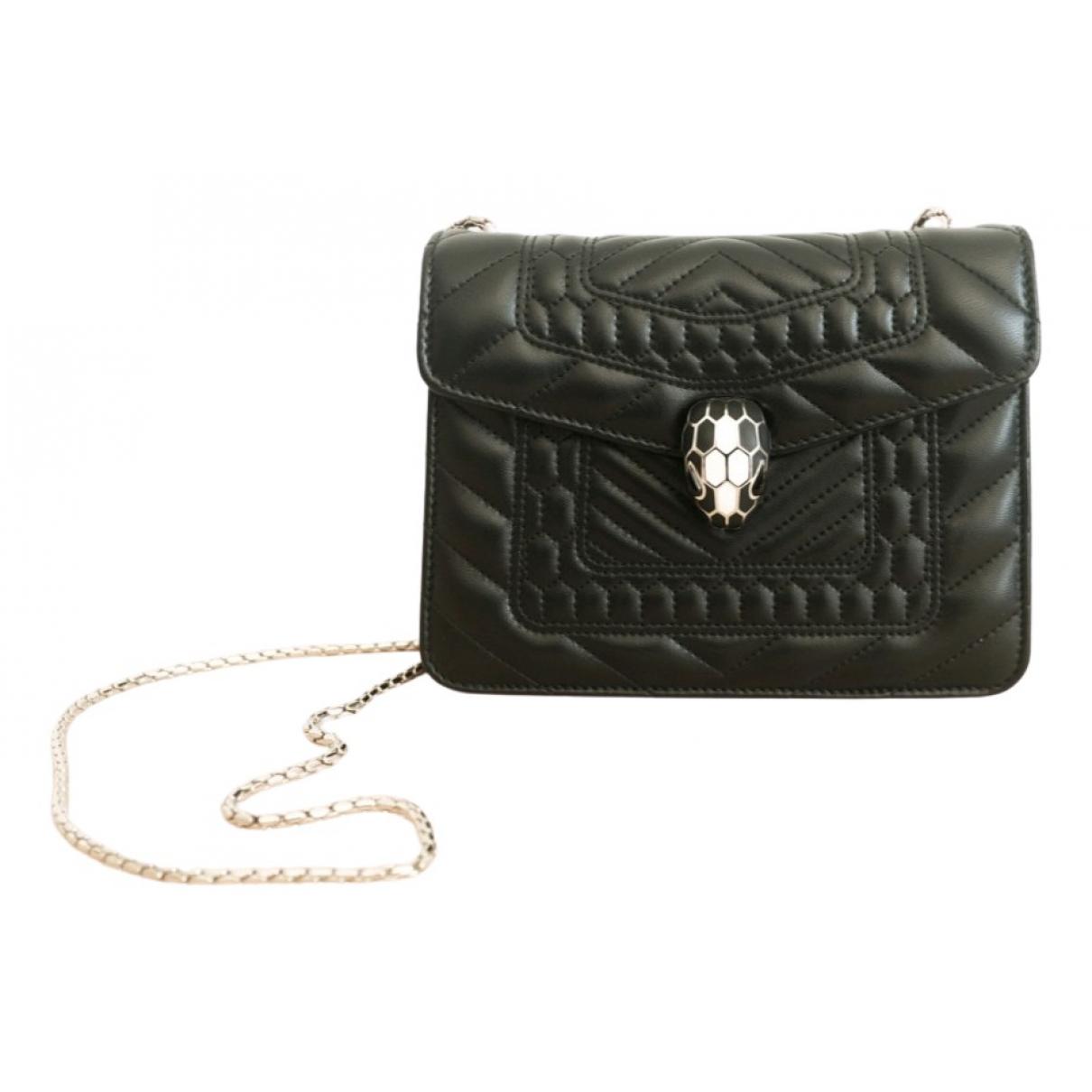 Bvlgari - Sac a main Serpenti pour femme en cuir exotique - noir