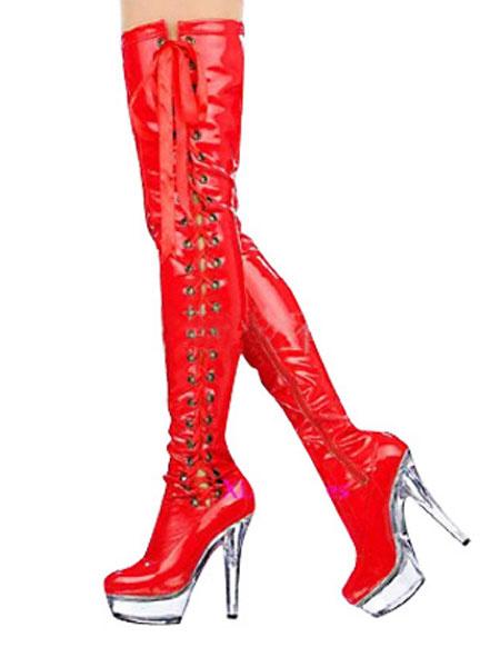 Milanoo Botas rojas con plataforma transparente y cordones de tacon de aguja