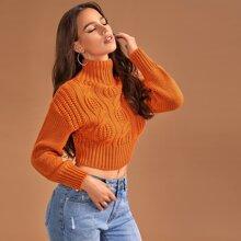 Strick Pullover mit hohem Kragen und sehr tief angesetzter Schulterpartie