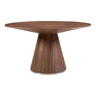 Aurelle Home Modern Geometric Round Dining Table (Walnut)