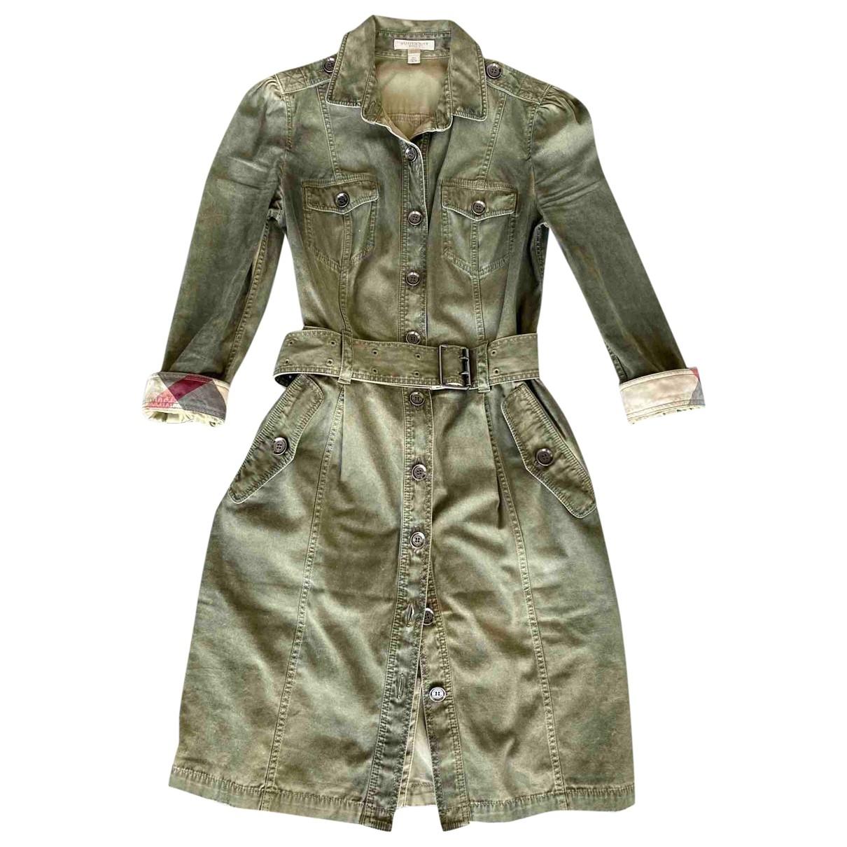 Burberry \N Khaki Cotton dress for Women 4 UK