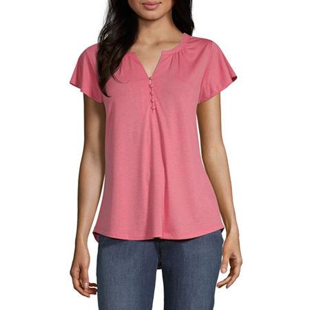 Liz Claiborne Womens Split Crew Neck Short Sleeve Henley Shirt, Small , Pink