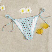 Bikini Hoschen mit Erdbeere Muster und seitlichem Band