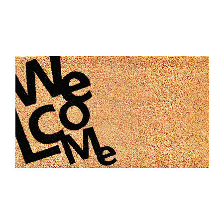 Angle Welcome Rectangular Outdoor Doormat, One Size , White