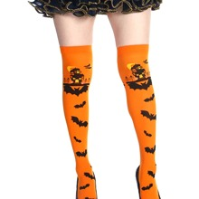 Halloween Bat Print Overknee Length Socks