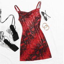 Slip Kleid mit drapiertem Kragen und Schlangenleder Muster